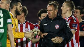 Derry City manager Kenny Shiels alleges he was called a sectarian name after his team's defeat by Cork City on Friday