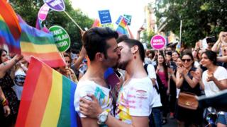 A gay couple kisses during the Gay Pride parade on 28 June 2015 in Istanbul.