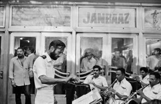 The navy band performs ahead of the premiere of the movie Janbaaz at Metro Cinema in 1986