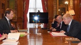 Richard Ratcliffe and Boris Johnson at the Commonwealth office