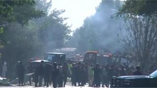 Smoke rising from the site of a car bomb attack in the western part of Kabul
