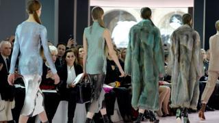 Models on catwalk at Christian Dior fashion show at Paris Fashion Week 2015