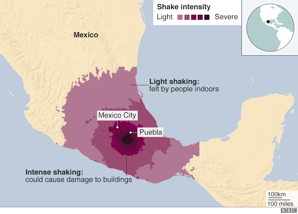 Map showing the shake intensity of the 19 September Mexico quake