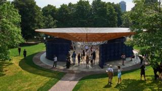 The circular, newly-installed pavilion at London's Serpentine Gallery