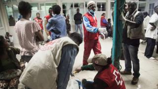 Wounded are treated at a hospital in Antananarivo