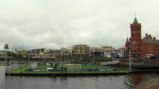 Floating pitch in Cardiff Bay