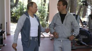 President Putin (l) and Dmitry Medvedev (r), Sochi, 2015