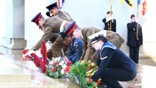 Soldiers lay wreaths at the Thiepval Memorial