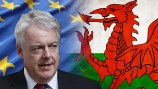 Carwyn Jones with Wales and EU flags