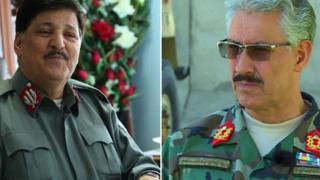 له ښی لاس: د کابل د ګارنیزیون قومندان جنرال ګل نبي احمدزي او د امنیه قومندان جنرال حسن شاه فروغ