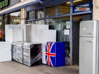 A Union Flag decorated refrigerator for sale. Holloway, London.