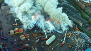 Fire at Saltley recycling plant