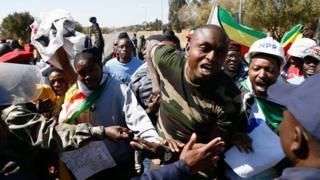 Protesters in Pretoria, South Africa