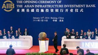 Ceremonia de inauguración del AIIB.