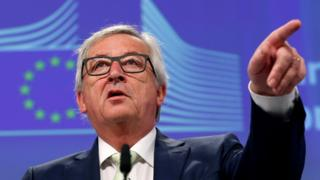 European Commission President Jean-Claude Juncker briefs the media after Britain voted to leave the bloc, in Brussels, Belgium, June 24, 2016