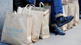 A line of Primark shopping bags