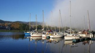 Retreating sea mist