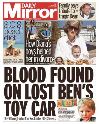 Daily mirror front page, Monday 24 July