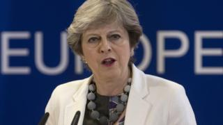 Theresa May holds a press conference at the Council of the European Union building on October 20, 2017 in Brussels