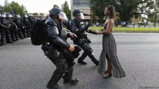 Ieshia Evans faces armed police