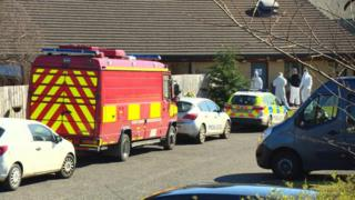 Fire service and police at scene