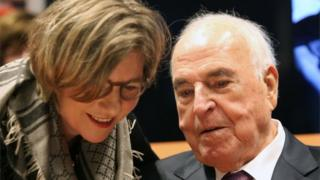A photo from 8 October, 2014 shows former German chancellor Helmut Kohl speaking to his wife Maike Kohl-Richter