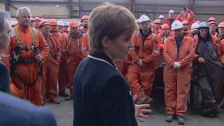 Nicola Sturgeon with BiFab workers