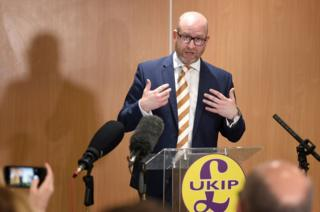 UKIP leader Paul Nuttall speaks during a press conference at Boston West Golf Club where he announced that he is standing down as party leader.