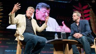 Stephen Fry delivering lecture at Hay Festival