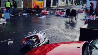 Damaged stalls at the Magherafelt Christmas market