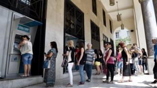 Queue outside a cash machine in Thessaloniki, 27 June 2015
