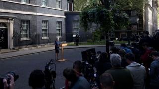 Theresa May making an announcement to media