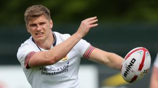Owen Farrell passes the ball during the British and Irish Lions training session