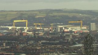 The Harland and Wolff cranes in the Belfast skyline