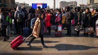 北京火車站外的旅客(23/1/2017)