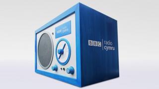 A radio with the BBC Radio Cymru logo