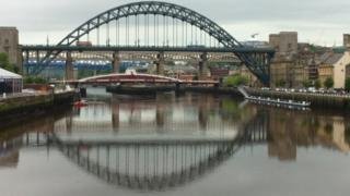 Newcastle Quayside with the Tyne and Swing bridges