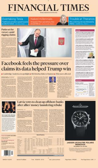 Financial Times front page - 19/03/18