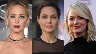 (left to right) Jennifer Lawrence, Angelina Jolie and Emma Stone