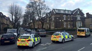Police cars at scene