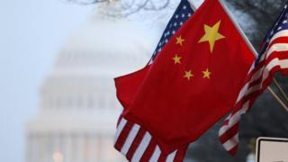 China and US flags along Pennsylvania Avenue near the US Capitol in Washington
