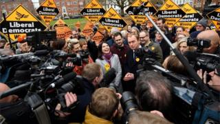 Sarah Olney, Tim Farron and Lib Dem supporters