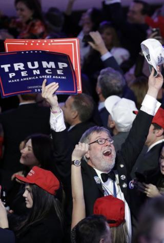 Сторонники Дональда Трампа празднуют его победу в Нью-Йорке