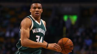 Giannis Antetokounmpo of the Milwaukee Bucks carries the ball
