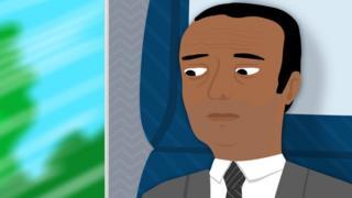 Cartoon of depressed businessman looking out window