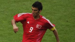 Hakan Sukur playing for Turkey at the 2002 World Cup