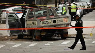 The crashed vehicle used in what is being described as a terrorist attack sits in lower Manhattan the morning after the event on November 1, 2017 in New York City.