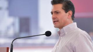 Mexican President Enrique Peña Nieto delivers a speech during an event in Lagos de Moreno, Jalisco. 22 June 2017