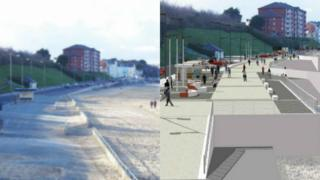 How the promenade looks now - and how it should look when the scheme is completed