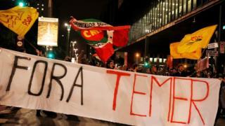 محتجون يتظاهرون ضد الرئيس البرازيلي ميشيل تامر